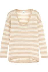 Iris And Ink Striped Cashmere Sweater Beige