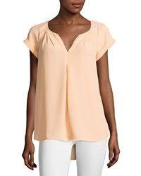 Max Studio Short Sleeve Center Pleat High Low Blouse Peach Pink