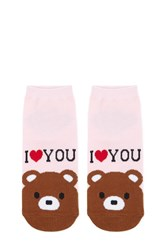 Forever 21 I Heart You Graphic Ankle Socks Pink Multi