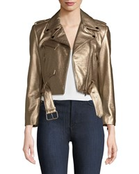 Lamarque Roberta Metallic Zip Front Leather Moto Jacket Bronze