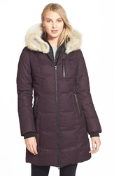 Soia Kyo 'Chrissy' Print Down Parka With Genuine Leather And Coyote Fur Trim Merlot