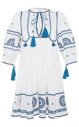 Talitha Embroidered Indian Peasant Dress White