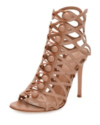 Gianvito Rossi Looped Button Cage Bootie Praline