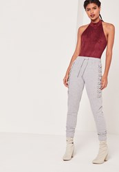 Missguided Sarah Ashcroft Lace Up Eyelet Side Jogger Grey Grey