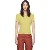 Opening Ceremony Beige And Yellow Squiggle Short Sleeve Sweater