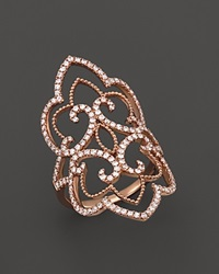 Bloomingdale's Diamond Statement Ring In 14K Rose Gold 1.0 Ct. T.W. White Rose