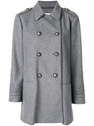 Red Valentino Fitted Double Breasted Coat Women Polyamide Polyester Acetate Wool 40 Grey