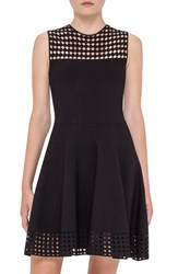 Akris Punto Women's Dot Mesh Inset Fit And Flare Dress
