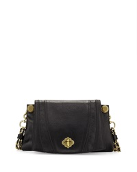 Oryany Leah Flap Leather Crossbody Bag Black