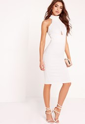 Missguided High Neck Wrap Top Bodycon Dress White White