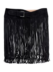 Azzedine Alaia Long Fringe Suede Belt Black