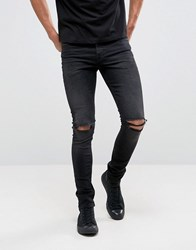 Asos Super Skinny 12.5Oz Jeans With Knee Rips In Washed Black Washed Black