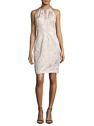 Carmen Marc Valvo Sequined Embroidered Dress Silver