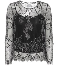 Huishan Zhang Piper Embroidered Lace Top Black