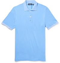 Incotex Slim Fit Knit Trimmed Pima Cotton Piqua Polo Shirt Light Blue