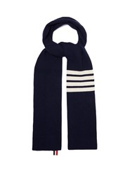 Thom Browne Stripe Detail Ribbed Knit Cashmere Scarf Navy
