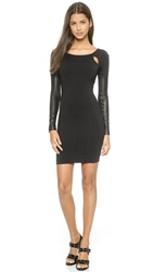 David Lerner Cutout Dress With Leather Sleeves Black