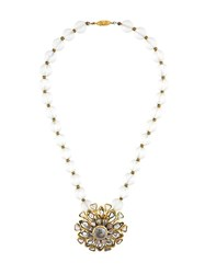 Chanel Vintage Floral Pendant Necklace Metallic