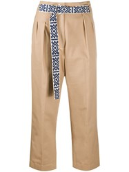 Mira Mikati Belted Cropped Trousers Neutrals