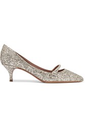 Tabitha Simmons Layton Glittered Leather Pumps Silver