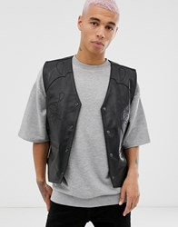 Weekday Raoul Leather Vest In Black