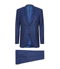 Corneliani Shadow Check Suit Male Navy
