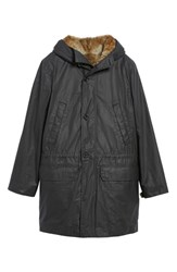 Billy Reid Camden Waxed Cotton Parka With Removable Genuine Rabbit Fur Liner Black