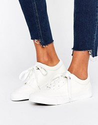 New Look Leather Lace Up Trainer White