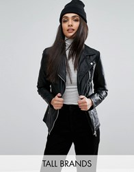 New Look Tall Leather Biker Jacket Black