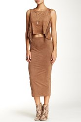 Blvd Faux Suede Skirt Brown