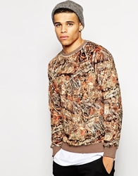 Iuter Sweatshirt With Woodland Print And Teddy Bear Effect Brown