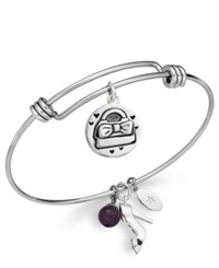 Unwritten Purse And Shoe Charm And Amethyst 8Mm Bangle Bracelet In Stainless Steel