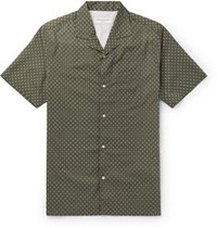 Officine Generale Camp Collar Printed Cotton Shirt Green