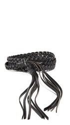 Rebecca Minkoff Flat Leather Belt With Knotted Tassels Black