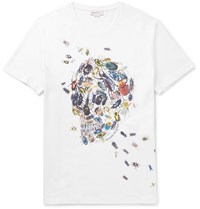 Alexander Mcqueen Slim Fit Printed Cotton Jersey T Shirt White