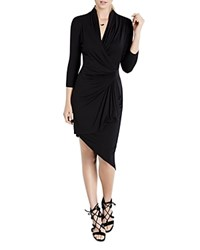 Karen Kane Asymmetric Cascade Faux Wrap Dress Black