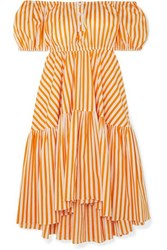 Caroline Constas Bardot Off The Shoulder Striped Cotton Blend Midi Dress Orange