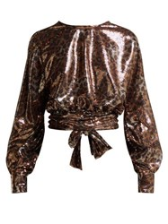 Msgm Leopard Print Sequinned Open Back Blouse Black Gold