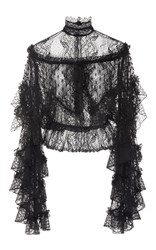 Rodarte Black Lace And Honeycomb Tiered Ruffle Blouse