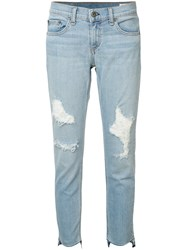 Rag And Bone Marina Ripped Skinny Jeans Women Cotton Polyurethane 28 Blue
