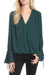 Trouve Women's Surplice Tie Sleeve Top Green Park