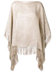 Brunello Cucinelli Fringed Cape Nude Neutrals