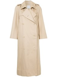 Christopher Esber Open Sleeve Trench Cotton Brown