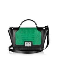 Leonardo Delfuoco Black And Green Croco Embossed Ipad Bag