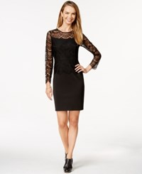 Spense Petite Long Sleeve Lace Scuba Dress Black