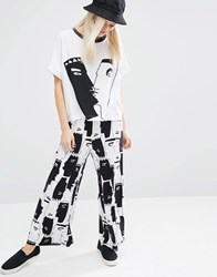 Monki Wide Leg Jersey Printed Pant Face Print
