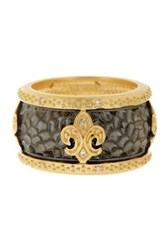 Freida Rothman 14K Gold And Rhodium Plated Sterling Silver Cz Fleur De Lis Hammered Cigar Band Ring Size 8 Metallic