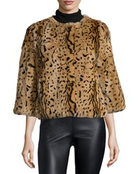 Belle Fare 3 4 Sleeve Animal Print Fur Coat Leopard