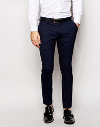 Selected Tuxedo Trousers With Jacquard In Skinny Fit Navy