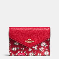 Coach Envelope Card Case In Wild Hearts Print Coated Canvas Light Gold Wild Hearts Red Multi